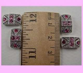 Hole Beads #11 Marcasite Tablets Made w/ Rose Pink Swarovski Crystal