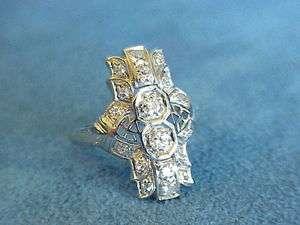 Antique Art Deco Nouveau 1920s Diamond Platinum Filigree Dinner Ring