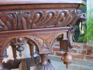 Antique English Victorian Carved Dolphin Oak Library Table Desk