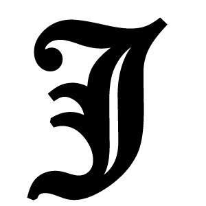 Old English Lettering Letter J White Decal: Automotive