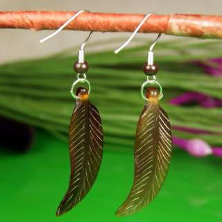 Generous Yak Bone Carved Feather Plume Pierced Earrings