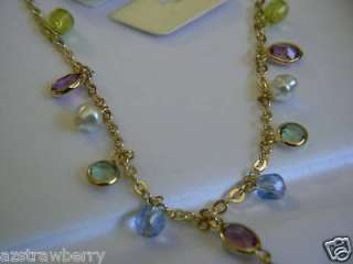 1928 JCO GOLD TONE CRYSTAL CHARMS CHAIN NECKLACE 19L
