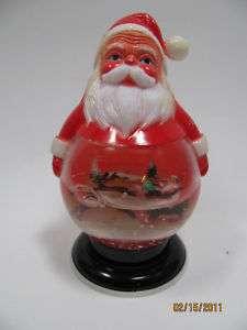 Retro Kitsch Vtg Xmas plastic Santa snow globe