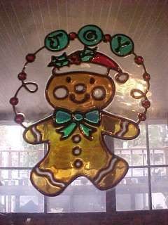 Gingerbread Man JOY sign Stained Glass Window Cling