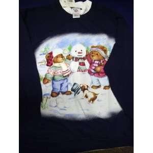 Holiday Sweatshirt Bears Building Snowman Festive Top by Nutcracker