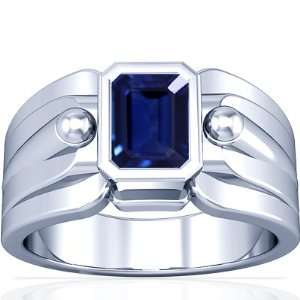 White Gold Emerald Cut Blue Sapphire Solitaire Ring (GIA Certificate