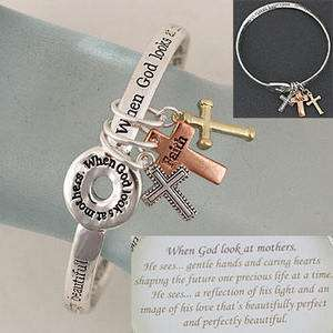 MOTHER MOM MAMA WHEN GOD LOOKS AT MOTHERS CROSS FAMILY JEWELRY