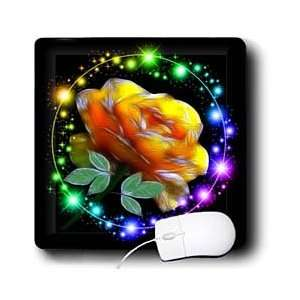 Flower Designs   Yellow Rose With Glitter   Mouse Pads Electronics