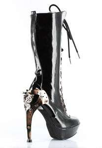 LACE UP STEAMPUNK GOTHIC METAL HEEL PLATFORM BOOTS