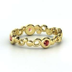 Bubble Stack Ring, 14K Yellow Gold Ring with Red Garnet