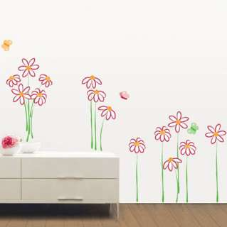 FLOWER & BUTTERFLY DECOR MURAL ART WALL STICKER KR 0023