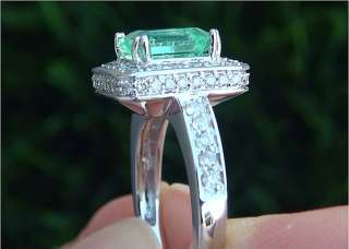 30 Carat Natural Colombian Emerald Diamond Ring 14k White Gold