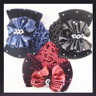 Lady Bow Barrette Hair Clip With Snood Net Bun Cover A523