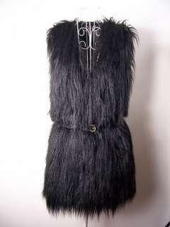 Vintage Trend Celeb Black Faux Fur Vest One Size