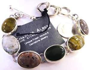 jasper .950 sterling silver handmade designer bracelet NWT