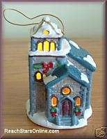 MR CHRISTMAS ILLUM. VILLAGE CHURCH ORNAMENT MUSIC BOX