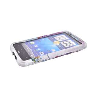 For HTC Inspire 4G Colorful Flower Silver Rubber Hard Shell Case Cover