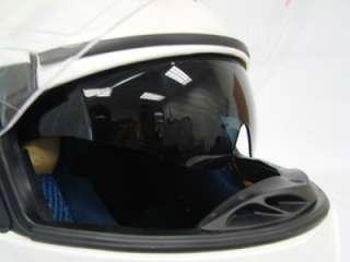 UP MODULAR MOTORCYCLE DUAL SHIELD SMOKE SUN VISOR GLASSES HELMET WHITE