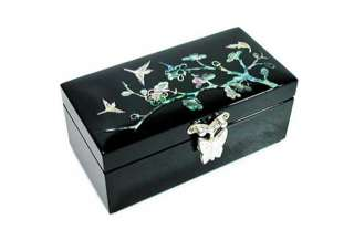 Mother of Pearl Black Flower Jewelry Box   apricot