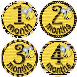 Monthly Onesie Baby Stickers Girl Bee Dots Stripes Gift