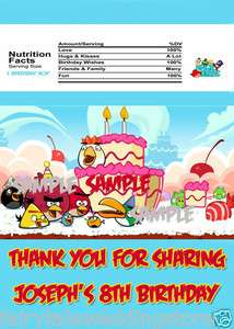 26 Angry Birds Hershey Full Candy Bar Wrapper Labels Birthday Party