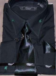New Mens Black & Green High Collar Dress Shirt & Tie