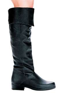 MENS UNISEX PIG LEATHER KNEE HIGH CUFFED BOOTS 1 HEEL