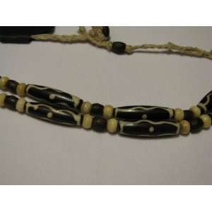 Choker Necklace   Carved Bone, Wood, Hemp and Copper Beads
