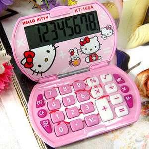 New Mini Hello Kitty Foldable Pocket Basic Electronic Calculator