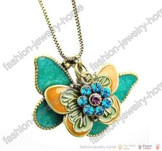 Fashion Dazzling Crystal Flying Butterfly Flower Pendant Necklace