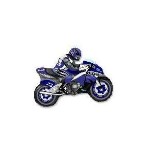 36 Moto Racing Bike Blue and Yellow   Mylar Balloon Foil