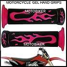 HONDA DIRT BIKE ENDURO MOTOCROSS MOTORCYCLE MX PINK FLAME GEL GRIPS