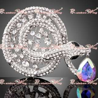 Best Gift Ladies 18K Gold Swarovski Crystal Snake Breastpin Brooch Pin