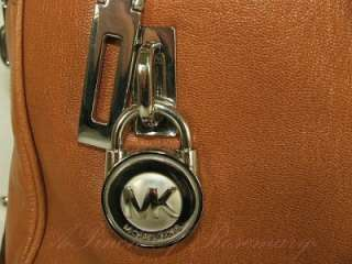Michael Kors Knox Joan Lock Key Large Leather Zip Satchel Bag Purse