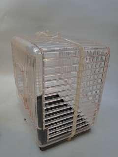 VINTAGE HARD PLASTIC BIRD CAGE 1950s UNUSED PINK LUCITE parakeet PERCH