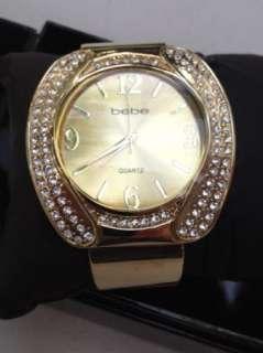 BEBE WATCH swarovsky crystal cuff kasha circle silver