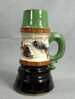 ANTIQUE GLAZED CERAMIC ART POTTERY BEER STEIN TANKARD DRINKING CUP