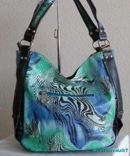 WESTERN GREEN MULTI SNAKESKIN COWGIRL CROSS RHINESTONE SHOPPER PURSE
