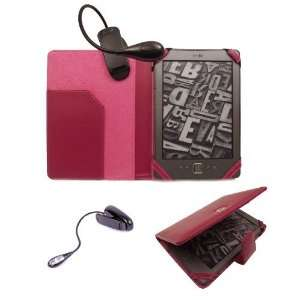 New Kindle Hot Pink Folio Case Cover Wallet with FREE LED