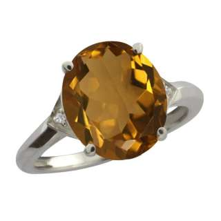 31 Ct Oval Whiskey Quartz and White Topaz Sterling Silver Ring