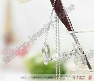 Fashion Golden silver Twist Love glass crystal Pearl Necklace