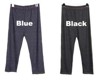 Korea Girls Jean Style Tight Capri Leggings Rock Pants