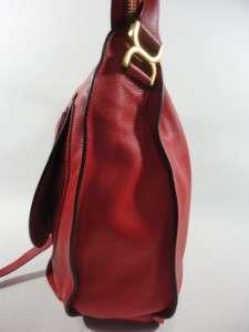NEW CHLOE Marci Large POPPY RED Leather HOBO Saddle Shoulder Bag Purse