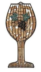 Wine Glass Wall Mounted Cork Holder Wrought Iron Display Case Rack NEW
