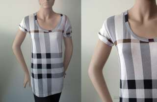 NEW BURBERRY Brit check short sleeve tee t shirt top S M L XL