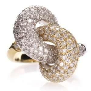 14k White & Yellow Gold Diamond Interlocked Ring: Jewelry