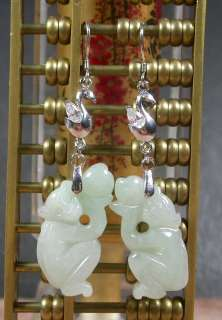 Whitw 925 Sterling Silver Natural A JADE Jadeite Monkey Earrings