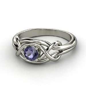 Infinity Knot Ring, Round Iolite Palladium Ring Jewelry