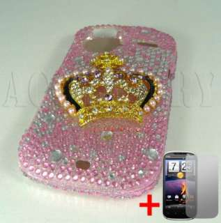 HTC AMAZE 4G RUBY TMOBILE GOLD CROWN PINK DIAMOND BLING COVER HARD