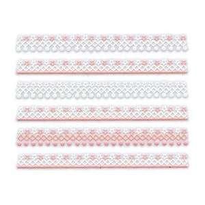 Iridescent Glitter White & Pink Star/Dot Lace Trim Strip Nail Stickers